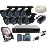 Zestaw EASYCAM AHD CVI TVI ANALOG 8x Kamera HD 720P, Rejestrator HDD 1TB