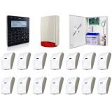 Zestaw alarmowy SATEL Integra 64, Klawiatura sensoryczna, 14 czujek ruchu PET, sygnalizator zewnętrzny