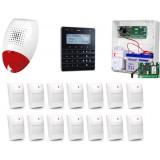 Zestaw alarmowy SATEL Integra 128-WRL, Klawiatura sensoryczna, 14 czujników ruchu, sygnalizator zewnętrzny SP-500, powiadomienie GSM