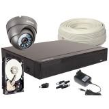 Zestaw 4w1, 1x Kamera 5Mpx/IR20, Rejestrator 4ch + Dysk 500GB