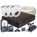 Zestaw 4w1, 3x Kamera HD/IR25, Rejestrator 4ch + 500GB