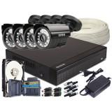 Zestaw 4w1, 4x Kamera HD/IR20, Rejestrator 4ch + 2TB