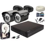 Zestaw AHD, 2x Kamera HD/IR20, Rejestrator 4ch + 500GB