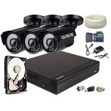 Zestaw AHD, 3x Kamera 1300TVL/IR20, Rejestrator 4ch + 500GB