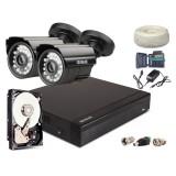 Zestaw AHD, 2x Kamera HD/IR20, Rejestrator 4ch + 1TB