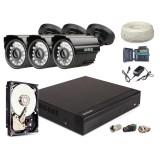 Zestaw AHD, 3x Kamera HD/IR20, Rejestrator 4ch + 500GB