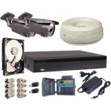Zestaw AHD, 2x Kamera HD/IR60, Rejestrator 4ch + 1TB