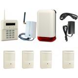 BEZPRZEWODOWY ZESTAW ALARMOWY ELMES, 4 x CZUJNIK, GSM, SYGNALIZATOR