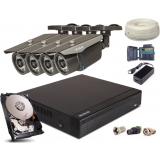 Zestaw AHD, 4x Kamera FULLHD/IR35, Rejestrator 4ch + 1TB