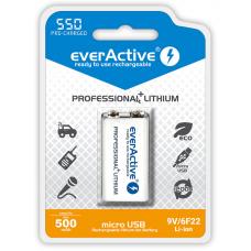 Akumulatorek 6F22/9V everActive Li-ion 550 mAh z gniazdem micro USB