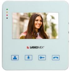 """Laskomex Monitor MVC-8251 BIAŁY KOLOR 4.3"""" z obsługą centrali portierskiej PR1, funkcją otwierania bramy."""