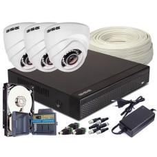 Zestaw 4w1, 3x Kamera FULL HD/IR20, Rejestrator 4ch + 1TB