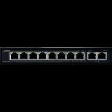 SWITCH POE PULSAR S108 10-PORTÓW (8xPoE + 2xUPLINK)  IEEE 802.3af/at, 48VDC / 30W/port (PoE+)