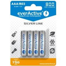 "Akumulatorki AAA / R03 everActive Ni-MH Ni-MH 800 mAh ready to use ""Silver line"" (box 4szt)"