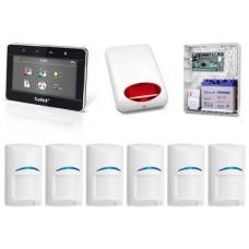 Zestaw alarmowy SATEL Integra 128-WRL, klawiatura dotykowa, 6 czujek, sygnalizator zewnętrzny, powidomienie