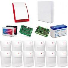Zestaw alarmowy SATEL Integra 32, klawiatura dotykowa, 12 czujek, sygnalizator zewnętrzny