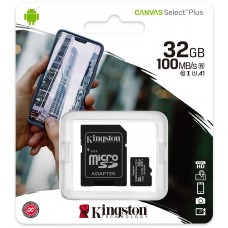 Karta pamięci Kingston Canvas Select Plus 32GB 100MB microSDHC CL10 UHS-I Card + SD Adapter