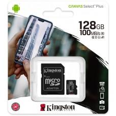 Karta pamięci Kingston Canvas Select Plus 128GB 100MB microSDXC CL10 UHS-I Card + SD Adapter