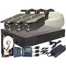 Zestaw 4w1, 3x Kamera FULL HD/IR30, Rejestrator 4ch, HDD 1TB