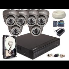 Zestaw AHD, 6x Kamera HD/IR20, Rejestrator 8ch + 1TB