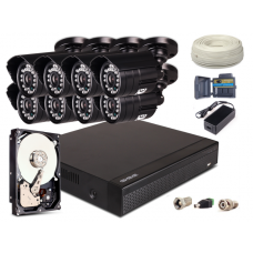 Zestaw AHD, 8x Kamera HD/IR20, Rejestrator 8ch + 1TB