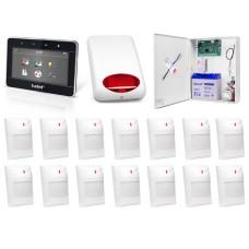 Zestaw alarmowy SATEL Integra 64, klawiatura dotykowa, 14 czujek, sygnalizator zewnętrzny