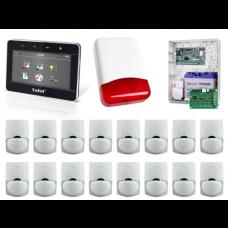 Zestaw alarmowy SATEL Integra 128-WRL, Klawiatura dotykowy, 16 czujek ruchu PET, sygnalizator zewnętrzny, powiadomienie GSM