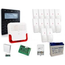 Zestaw alarmowy SATEL Integra 128-WRL, Klawiatura sensoryczna, 12 czujników ruchu, sygnalizator zewnętrzny SD-6000, powiadomienie GSM