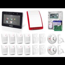 Zestaw alarmowy SATEL Integra 128-WRL, Klawiatura dotykowa, 8 czujników ruchu PET, 4 czujniki ruchu dualne PET, 2 czujniki zalania, 2 czujniki dymu sygnalizator zewnętrzny SP-4002, powiadomienie GSM