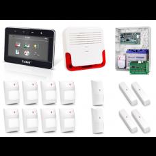 Zestaw alarmowy SATEL Integra 128-WRL, Klawiatura dotykowa, 8 czujników ruchu, 4 czujniki ruchu dualne, 4 czujniki wibracyjne,  sygnalizator zewnętrzny SD-6000, powiadomienie GSM