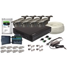 Zestaw 4w1, 4x Kamera FULL HD/IR30, Rejestrator 4ch, HDD 1TB