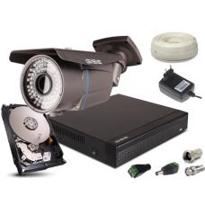 Zestaw AHD, 1x Kamera HD/IR60, Rejestrator 4ch + 500GB