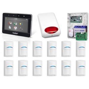Zestaw alarmowy SATEL Integra 128-WRL, klawiatura dotykowa, 12 czujek, sygnalizator zewnętrzny, powiadomienie