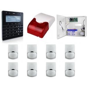 Zestaw alarmowy SATEL Integra 32, klawiatura sensoryczna, 8 czujek, sygnalizator wewnętrzny