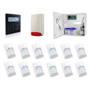 Zestaw alarmowy SATEL Integra 32, Klawiatura Sensoryczna, 12 czujek ruchu, sygnalizator zewnętrzny