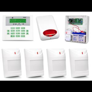 Zestaw alarmowy SATEL Integra 24, Klawiatura LCD, 4 czujniki ruchu, sygnalizator zewnętrzny SPL-5010
