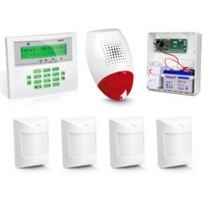 Zestaw alarmowy SATEL Integra 24, Klawiatura LCD, 4 czujniki ruchu, sygnalizator zewnętrzny SP-500