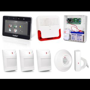 Zestaw alarmowy SATEL Integra 24, Klawiatura dotykowa, 3 czujniki ruchu, 1 czujnik czadu, 1 czujnik zalania, sygnalizator zewnętrzny SD-6000