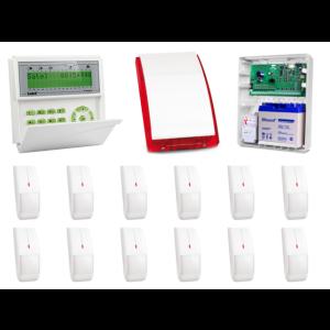 Zestaw alarmowy SATEL Integra 32, Klawiatura LCD, 12 czujników ruchu, sygnalizator zewnętrzny SP-4003