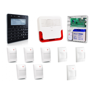 Zestaw alarmowy SATEL Integra 32, Klawiatura sensoryczna, 5 czujników ruchu PET, 3 czujniki ruchu dualne PET, sygnalizator zewnętrzny SD-600