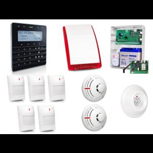 Zestaw alarmowy SATEL Integra 32, Klawiatura sensoryczna, 5 czujników ruchu, 2 x czujni dymu, 1 x czujnik czadu, sygnalizator zewnętrzny SP-4003, powiadomienie GSM
