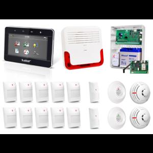 Zestaw alarmowy SATEL Integra 64, Klawiatura dotykowa, 10 czujników ruchu, 2 czujniki ruchu dualne, 2 czujniki zalania, 2 czujniki dymu, czujnik czadu, czujnik gazu ziemnego, sygnalizator zewnętrzny SD-6000, powiadomienie GSM