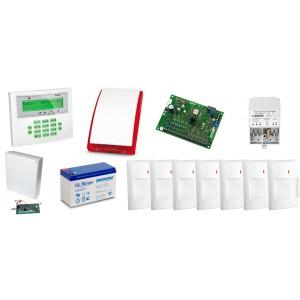 Zestaw alarmowy SATEL Integra 128-WRL, Klawiatura LCD, 7 czujników ruchu, sygnalizator zewnętrzny SPL-2030, powiadomienie GSM
