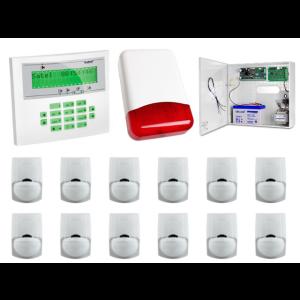 Zestaw alarmowy SATEL Integra 32, Klawiatura LCD, 12 czujek ruchu PET, sygnalizator zewnętrzny
