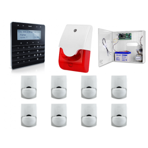 Zestaw alarmowy SATEL Integra 32, Klawiatura sensoryczna, 8 czujek ruchu PET, sygnalizator wewnętrzny