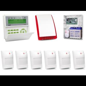 Zestaw alarmowy SATEL Integra 128-WRL, Klawiatura LCD, 6 czujek ruchu, sygnalizator zewnętrzny SP-4001, powiadomienie GSM