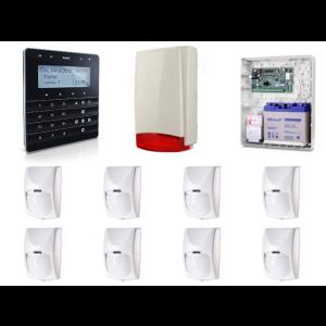 Zestaw alarmowy SATEL Integra 128-WRL, Klawiatura sensoryczna, 8 czujek ruchu PET, sygnalizator zewnętrzny, powiadomienie GSM