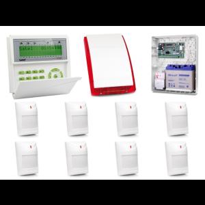 Zestaw alarmowy SATEL Integra 128-WRL LCD, 8 czujek, sygnalizator zewnętrzny, powiadomienie