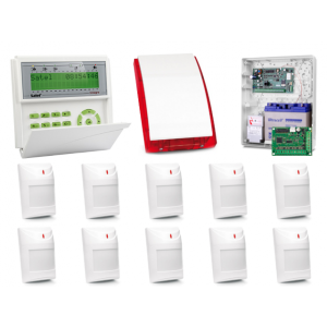Zestaw alarmowy SATEL Integra 128-WRL, Klawiatura LCD, 10 czujek ruchu, sygnalizator zewnętrzny SP-4001, powiadomienie GSM