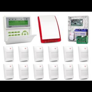 Zestaw alarmowy SATEL Integra 128-WRL, Klawiatura LCD, 12 czujek ruchu, sygnalizator zewnętrzny SP-4001, powiadomienie GSM